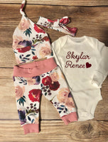 Cream and Crimson Floral Newborn Coming Home Outfit