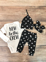 Annie Polka Dot Newborn Outfit, New to the Crew - Josie and James