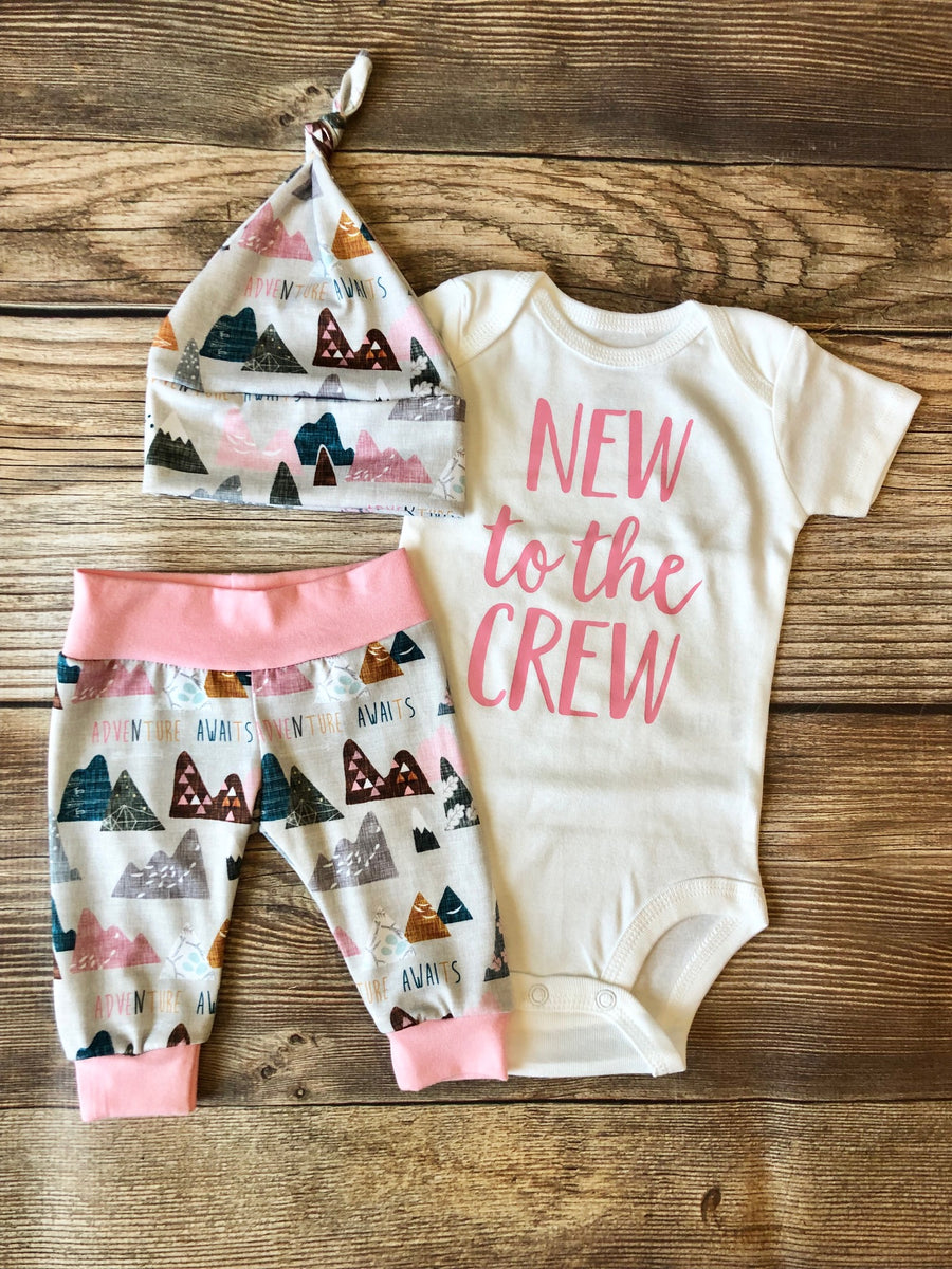 e1c326425 Pink Adventure Awaits Newborn Outfit - New to the Crew – Josie and James