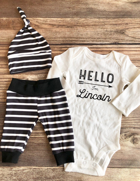 Black with White Stripe Newborn outfit, Spring - Josie and James