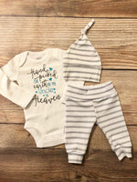 Handpicked from Heaven Gray Stripe Coming Home Outfit, Gender Neutral - Josie and James