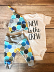 New to the Crew Turquoise Honeycomb Newborn Outfit