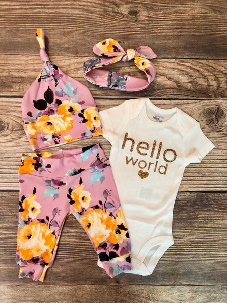 Jenna Floral Newborn Outfit, Hello World - Josie and James