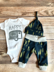 Happy Camper Newborn Coming Home outfit, Midnight Forest