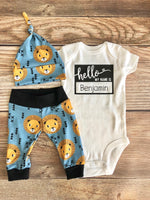 Hello My Name is Gold Lion Newborn Outfit, Coming Home Outfit, Lion, Safari - Josie and James