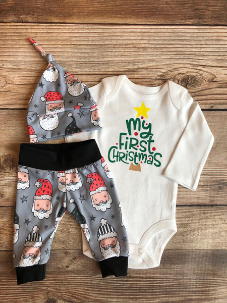 First Christmas Santa on Gray Newborn Outfit, Christmas Outfit - Josie and James