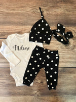 Annie Polka Dot Newborn Outfit, Name Onesie - Josie and James