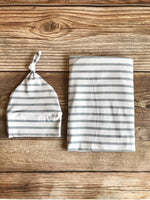 Gray Stripe Swaddle Set
