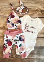 Hi I'm Cream and Crimson Floral Newborn Outfit - Josie and James