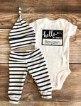 Hello My Name is Black and White Stripe Newborn Outfit