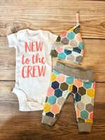New to the Crew Coral Honeycomb Newborn Outfit