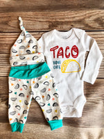 Taco Bout Cute Newborn Coming Home Outfit, Custom Newborn Outfit