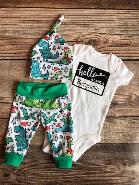 Hello My Name is Christmas Dino Newborn Outfit, Christmas Outfit, Dinosaur