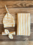 Mustard Stripe Swaddle Set, Yellow Stripe, Swaddle and Hat, Swaddle and Headband - Josie and James