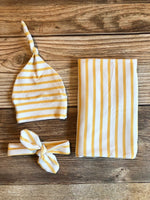 Mustard Stripe Swaddle Set, Yellow Stripe, Swaddle and Hat, Swaddle and Headband