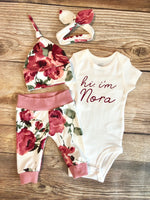 Hi I'm Harper Floral Newborn Outfit - Josie and James