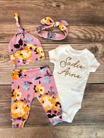 Jenna Floral Newborn Outfit, Gold Name - Josie and James