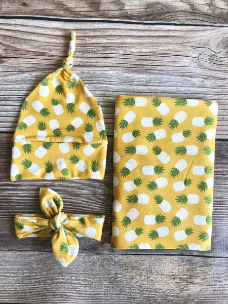 Pineapple Swaddle Set, Gender Neutral Swaddle Set, Spring - Josie and James