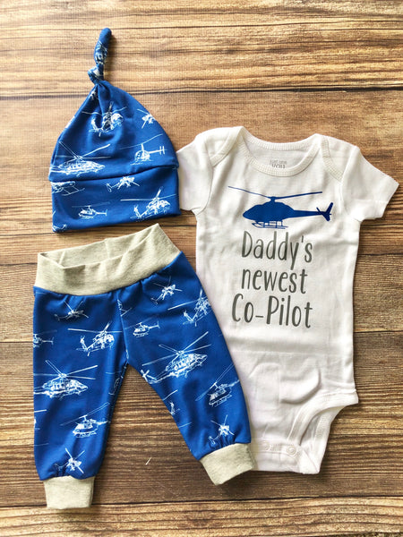 Daddy's Newest Co-Pilot Helicopter Outfit, Newborn Outfit, - Josie and James