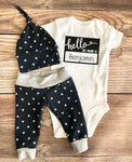 Hello My Name is Navy Triangle Newborn outfit, Arrow, Navy, Boy Outfit