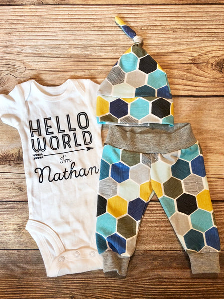 Hello World Honeycomb Newborn Outfit - Josie and James