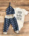 New to the Crew Navy Archer Newborn outfit, Arrow, Navy, Boy Outfit