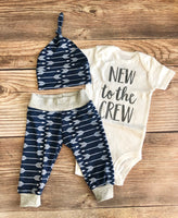 New to the Crew Navy Archer Newborn outfit, Arrow, Navy, Boy Outfit - Josie and James
