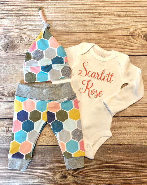 Coral Name Honeycomb Newborn Outfit, Baby Girl Outfit