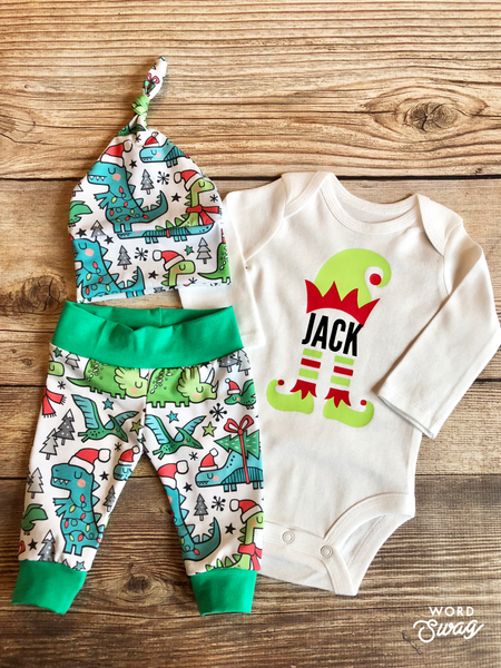 Elf Name Christmas Dino Newborn Outfit, Christmas Outfit, Dinosaur - Josie and James