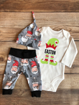 Elf Name Santa on Gray Newborn Outfit, Christmas Outfit