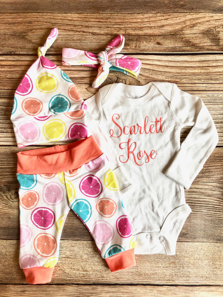 Tossed Citrus Newborn Coming Home Outfit