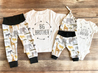 Big Brother Little Brother Sibling Outfit Set, Gray Safari, Big Bro, Little Bro, Sibling Set, Sibling Outfit, Spring. Toddler - Josie and James
