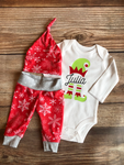 Elf Name Red Snowflake Christmas Outfit, Newborn Outfit