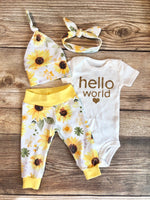 Hello World Sunflower Newborn Outfit - Josie and James