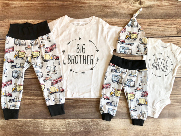 Big Brother Little Brother Sibling Outfit Set, Gray Vehicle, Big Bro, Little Bro, Sibling Set, Sibling Outfit, Spring, Toddler - Josie and James