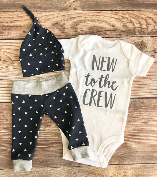 New to the Crew Navy Triangle Newborn outfit, Arrow, Navy, Boy Outfit - Josie and James