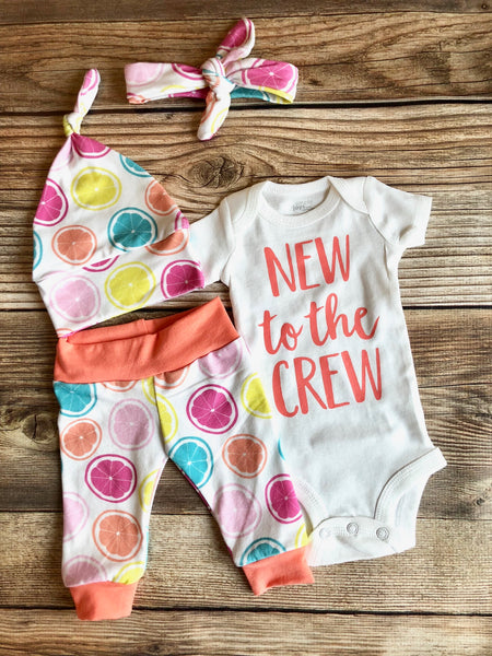 New to the Crew Tossed Citrus Newborn Coming Home Outfit