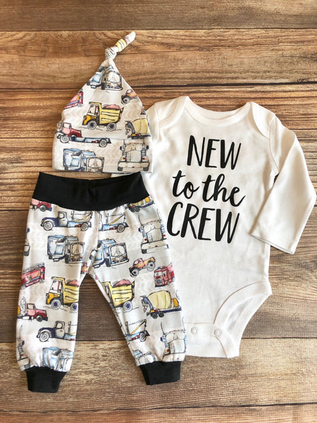 New to the Crew Gray Truck Vehicle newborn Outfit, coming home outfit, Spring, baby name outfit