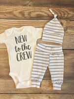 New to the Crew Gray and White Stripe Newborn Outfit - Josie and James
