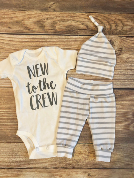 New to the Crew Gray and White Stripe Newborn Outfit