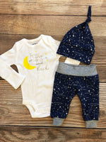 Moon and Star Navy Constellation newborn outfit
