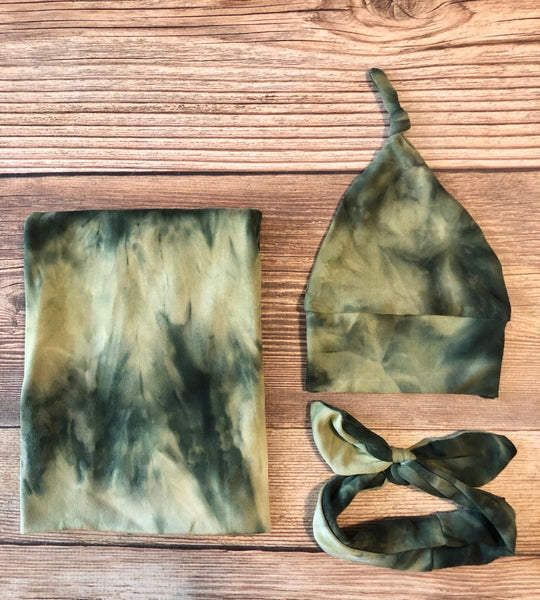 Sage Green Tie Dye Swaddle Set - Josie and James
