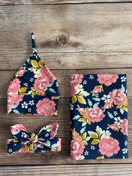 Kate Floral Swaddle Set - Josie and James