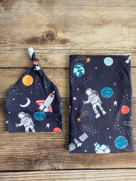 Navy Astronaut Swaddle Set, planets, universe, rocket, outer space - Josie and James