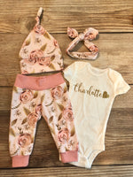 Rose Gold Floral Newborn Outfit, Personalized,  Custom, Baby Name Outfit - Josie and James