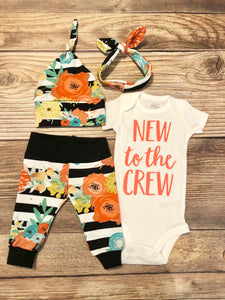 New to the Crew Coral Pop Floral Newborn Girl Coming Home Outfit