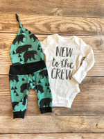 New to the Crew Forest Green Bear Coming home outfit, baby bear, newborn - Josie and James