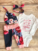 Handpicked for earth Rosalind Floral Newborn Outfit, heaven, grandpa, grandma, customizable - Josie and James