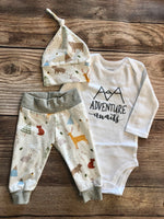 White Woodland Coming Home Outfit, Adventure Awaits - Josie and James