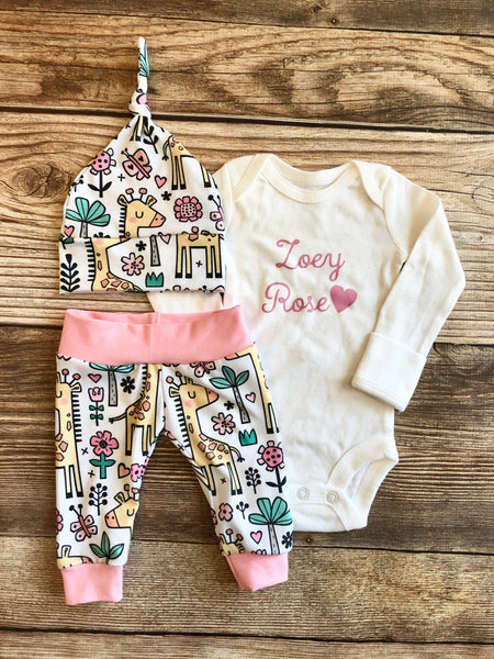 White and pink Giraffe Coming Home Outfit, newborn - Josie and James